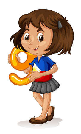 numbers clipart: Phillipino girl holding letter nine illustration