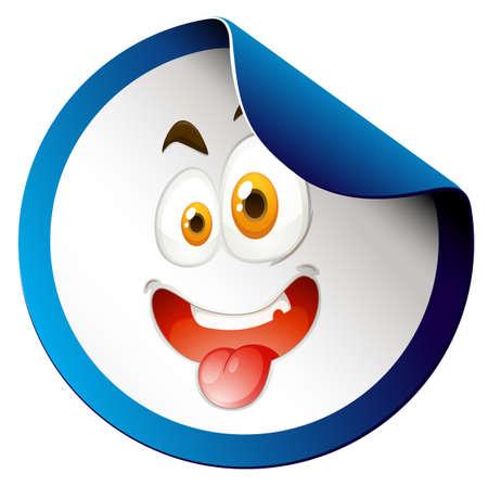 ojos azules: Etiqueta engomada redonda con la cara feliz ilustración