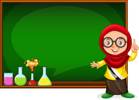 small children: Muslim girl presenting with blackboard illustration