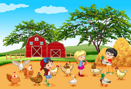 animals feeding: Children feeding animals in the farm illustration