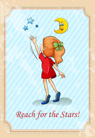 reach: Old saying reach for the stars illustration