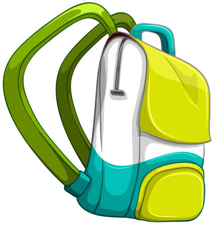schoolbag: Schoolbag in yellow and green color illustration Illustration