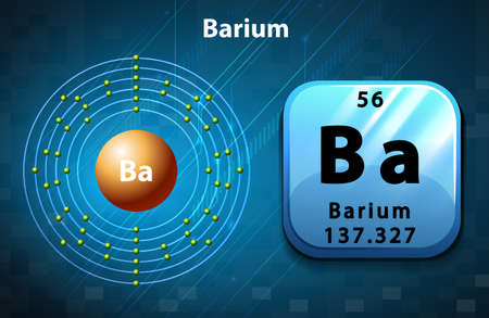 electron shell: Symbol and electron diagram for Barium illustration Illustration