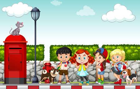 after school: Children hanging out at the side walk illustration Illustration