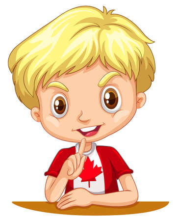 nationalities: Canadian boy sitting down illustration Illustration