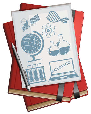 sattelite: Books and paper with science symbols illustration