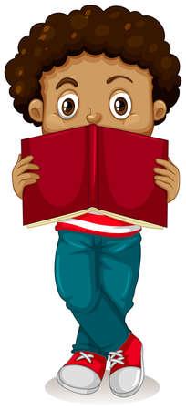 Little boy reading book illustration