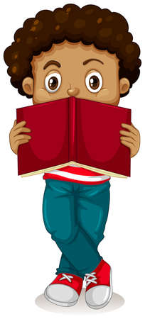 nationalities: Little boy reading book illustration