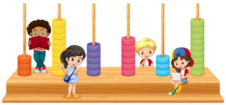 happy people white background: Children and math game illustration Illustration