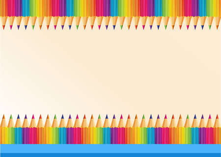 writing equipment: Border design with colorpencils illustration Illustration