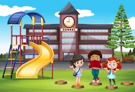 international students: Children standing in front of school illustration