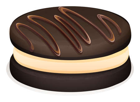 chocolate cookie: Sandwich cookie with chocolate topping illustration