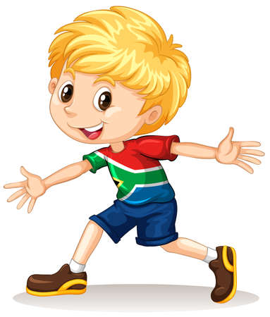 nationalities: South African boy smiling illustration