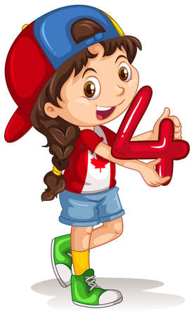 numbers clipart: Canadian girl holding number four illustration