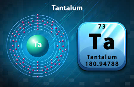electron: Symbol and electron diagram for Tantalum illustration