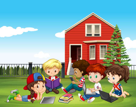 college girl: Internatinal children studying outside classroom illustration Illustration