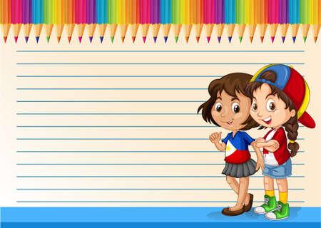 foreigner: International girls and line paper illustration