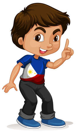 little finger: Philippines boy pointing a finger illustration