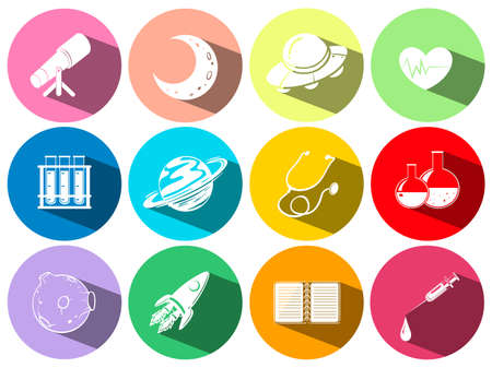 science: Science and technology symbols on buttons illustration Illustration