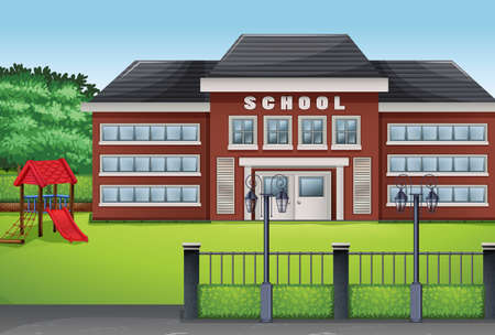 School building and green lawn illustration