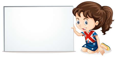 british girl: British girl and whiteboard  illustration