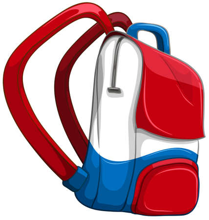 personal accessories: Schoolbag in red and blue illustration