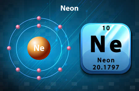 electron shell: Symbol and electron diagram for Neon illustration Illustration