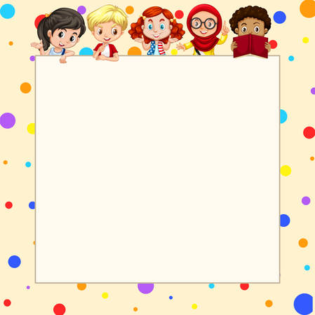child drawing: Blank banner with children  illustration