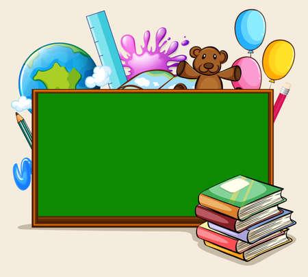 Blackboard and school objects illustration