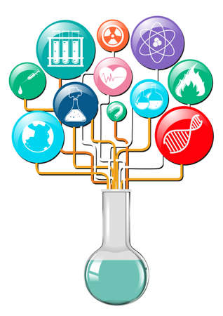 science lab: Flask and other science symbols illustration