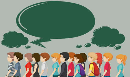 crowded space: People walking and speech bubbles illustration