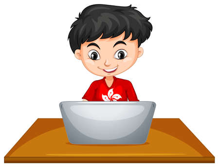 a table: Boy using computer on the table illustration