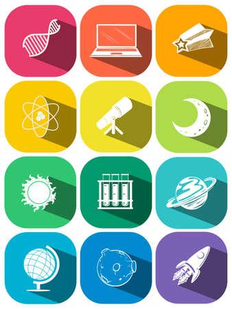science symbols: Science symbols on color icons illustration