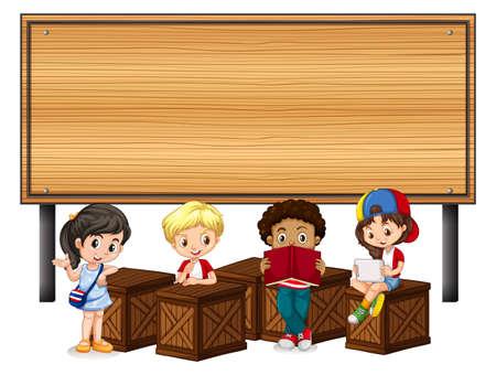 Kinderen en houten teken illustratie