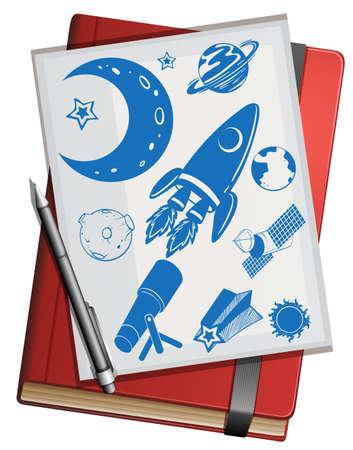 science symbols: Book and science symbols illustration Illustration