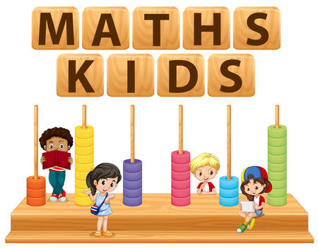 cartoon kids: Children and math toy illustration Illustration