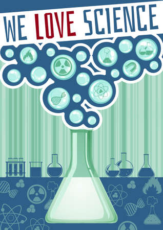 science lab: Science poster with lab equipment illustration Illustration