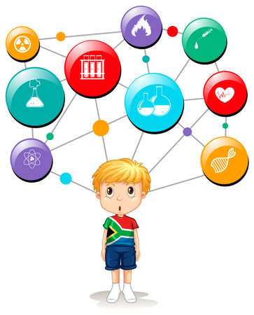 african boy: South African boy with science symbols illustration Illustration