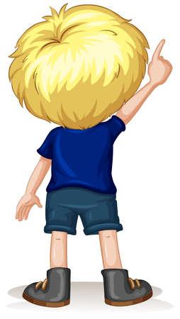 Retour du petit garçon pointant vers le haut illustration