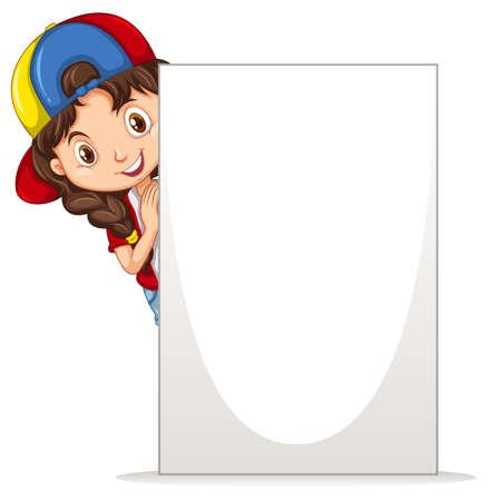 Little girl holding white board illustration Иллюстрация