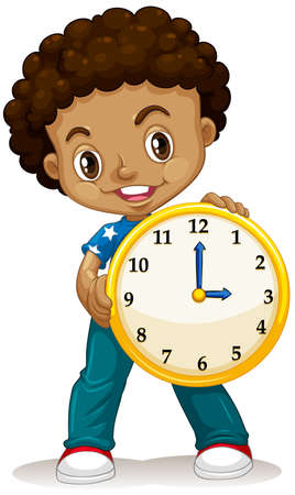 young boy smiling: African American boy holding a clock illustration