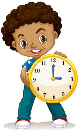 punctual: Muchacho afroamericano que sostiene una ilustración de reloj Vectores