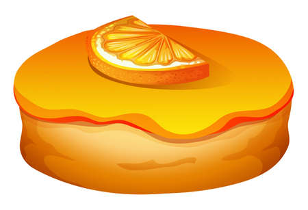 frosting: Doughnut with orange frosting illustration Illustration