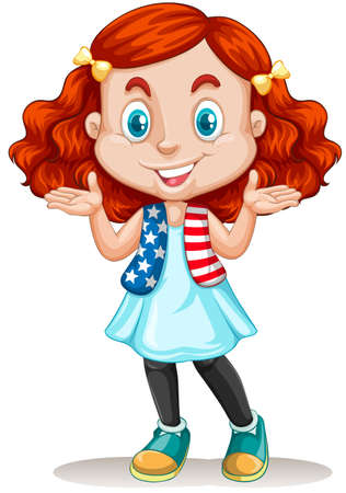 international students: American girl with red hair illustration