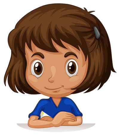international students: Little girl with big head illustration