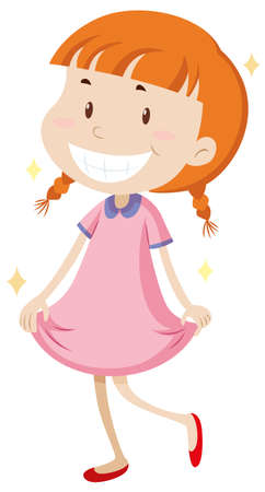 clean background: Little girl wearing clean clothes illustration
