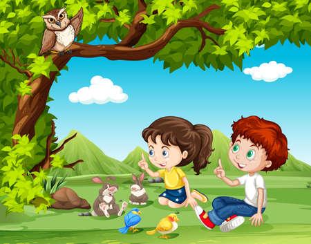 juventud: Niño y niña sentada bajo la ilustración del árbol