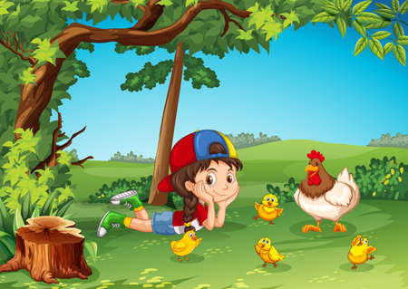 Little girl being with chickens illustration