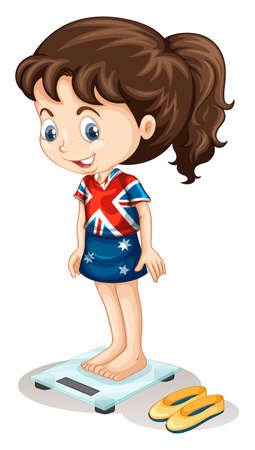 british girl: British girl weighing on scale illustration