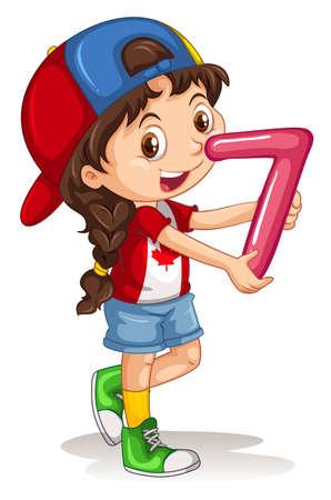 clipart: Muchacha linda que sostiene el número siete ilustración
